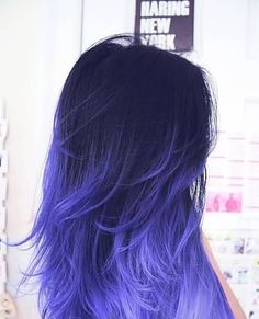 Dark Blue Hair Color To Purple Ombre Blue Hair