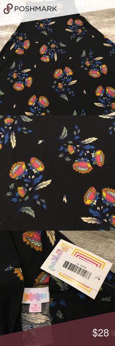 Lularoe S Azure Lularoe Azure size S. Black background with blue, burnt orange, red, green, sage and yellow flowers and leaves. New with tags. LuLaRoe Skirts