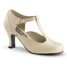 "Funtasma Flapper 26 Womens Pumps Shoes, Cream Pu, Size - 11. Polyurethane. Imported. flap closure. Platform measures approximately 0.25"""". Women's 3"""" Kitten Heel Round Toe Spectator Maryjane Pump."