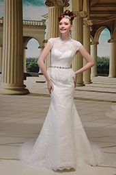 Venus wedding dress/gown- ivory sheath style wedding dress with waits beading and illusion neckline. For the Bride Boutique Ft. Myers, Florida