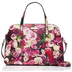 grant street floral small rachelle ($175) ❤ liked on Polyvore featuring bags, handbags, white satchel handbags, satchels, strap purse, white satchel and satchel purse