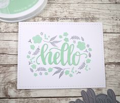 Jen Carter, card, Catherine Pooler, Tilly's Magic Garden, Hello Die, Floral, Mint, Gray