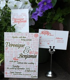 "Multilingual Gold and Coral Wedding Invitations  What makes these invitations so special is that the bride and groom chose to incorporate the words ""I Love You"" written in languages of all the countries they've traveled together. It makes for a fun typographic wedding invitation that highlights something special about the bride and groom. I also love the bold color choices!"