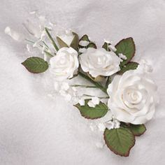 "Gumpaste Sugar Flowers - 6"" Rose & Baby's Breath Spray Filler Cake Topper"