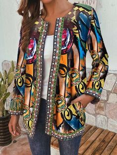 Ethnic Style Floral Print Plus Size Jackets - Newchic Plus Size Outerwear Mobile Plus Size Outerwear, Plus Size Coats, Ethnic Fashion, Womens Fashion, Clothes For Sale, Clothes For Women, Ethnic Print, Themed Outfits, Print Jacket