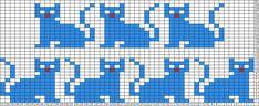 Tricksy Knitter Charts: Cats by Ransomnia Fair Isle Knitting Patterns, Knitting Charts, Knitting Stitches, Crochet Cross, Crochet Chart, Pony Bead Patterns, Cross Stitch Patterns, Loom Animals, Fair Isle Chart