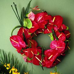 anthurium wreath - a festive tropical way to celebrate the holidays with my favorite  flower!