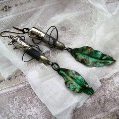 Earthbound Saturn, metalwork earrings handmade by Anvil Artifacts