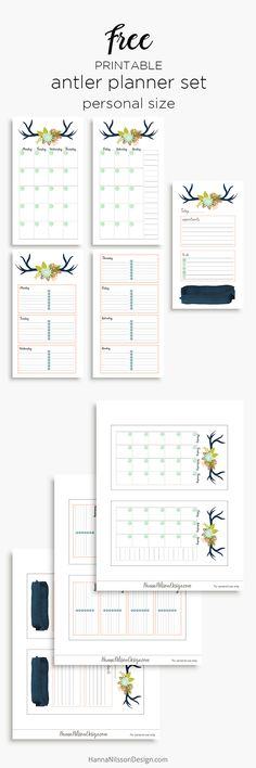 Free Printable Floral Antler Planner Insets in A5 and Personal Size from Hanna Nilsson Design {subscription required}