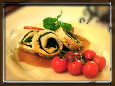 Flavorful Chicken Roll stuffed with spinach and walnuts with apple vodka sauce by Krolewskie Jadlo in Queens, NY   Click to order online