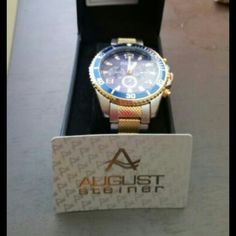 Mens watch Silver over gold Jewelry