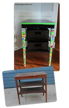 From end table to school workstation and organizer! See how it's done! #Goodwill #upcycle