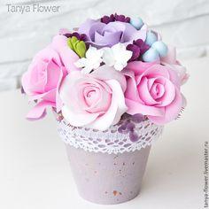 Купить Нежный шебби букет с розами - цветы, цветы из полимерной глины, цветочная композиция
