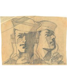 Joseph Binder, sketch for US Navy poster, 1950s. Pencil on parchment. MAK Vienna. Via europeana