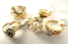 18K Goldplated rings vintage lot of 5 , Size 7, USA made, CZs, marked,(LotM39)NR #AmericanRing #Variety