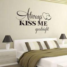 Любовь Стены Стикеры Спальня Котировки Всегда Kiss Me Goodnight Настенные Украшения Дома