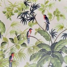 vogel behang tropisch exotisch warmgevoel in je huis 10.05 m lang 53 cm breed patroon :53/26.50 cm kleur : creme beige , groen , grijs