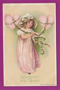 VAL36 Young Girl, Hearts, Vintage Love's Greeting Valentine's Day Postcard