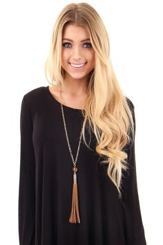Lime Lush Boutique - Tan Suede Tassel Necklace, $24.99 (http://www.limelush.com/tan-suede-tassel-necklace/)#lovefashion #new #Spring #fashionblog #instafashion #photomodel #beauty #trend #queen #day #us #follow #girl #dress #princess #look #lookbook #like #beautiful #cute #sexy #iphonesia