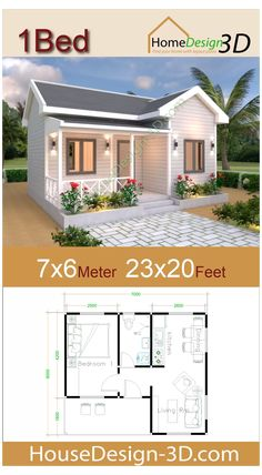 Sims House Plans, Garage House Plans, One Bedroom House Plans, 2 Bedroom House Design, Tiny House 3 Bedroom, Guest House Plans, Free House Plans, Modern Small House Design, Tiny House Design