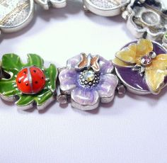Vintage 1960's enamel rhinestone flower insects by jewelry715, $12.00