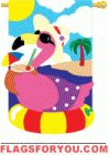 Applique Flamingo Fun Garden Flag - 1 left Flamingo Garden, House Flags, Garden Flags, Amazing Gardens, Applique, Kids Rugs, Music, Fun, Home Decor