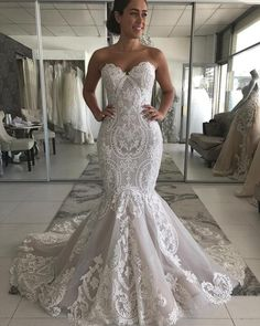 Sweetheart Lace Mermaid Wedding Dress 2020 Sexy Backless Wedding Gowns Gorgeous Buttons Back Bride Dress robe de mariee Dresses Elegant, Stunning Wedding Dresses, Best Wedding Dresses, Cheap Wedding Dress, Bridal Dresses, Wedding Gowns, Maxi Dresses, Wedding Lace, Event Dresses