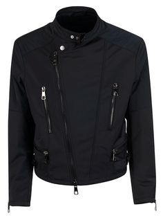 Shop Neil Barrett Zipped Biker Jacket and save up to EXPRESS international shipping! Motorcycle Jacket, Biker, Bomber Jacket, Neil Barrett, Mandarin Collar, Leather Jacket, Mens Fashion, Zip, Coat