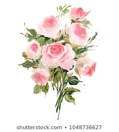 Similar Images, Stock Photos & Vectors of Watercolor drawing of a branch with leaves and flowers. Composition of pink roses, wildflowers and garden herbs Decorative bouquet isolated on white background. Simple Watercolor Flowers, Easy Watercolor, Watercolor Drawing, Rose Bouquet, Botanical Illustration, Wildflowers, Pink Roses, Watercolors, Vectors