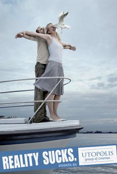 """"""" C'est nul, la réalité ! """" / Parodie du film """"Titanic"""". / Pub pour le groupe Utopolis cinemas."""