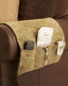 remote control holder - felted