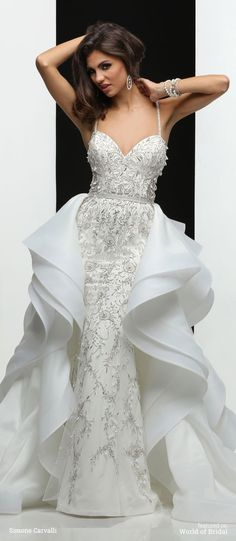Simone Carvalli Spring 2016 wedding dresses feature beautiful Chantilly lace, Soft romantic tulle, handmade floral, beaded spaghetti straps, soft Charmeuse and delicate beaded embroidery. Western Wedding Dresses, 2016 Wedding Dresses, Wedding Gowns, Girls Dresses, Prom Dresses, A Line Gown, Bridal Boutique, Bridal Collection, Elegant Dresses