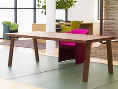 Doble Table by Gijs Papavoine for Montis. The Doble table features a solid wooden top which is held up by two graceful solid wooden support structures in parallel. The straight top has openings on either side for two decorative braces. Interior Inspiration, Room Inspiration, Fancy Houses, Wooden Tops, Dining Room, Dining Tables, Modern Design, Cool Designs, Sweet Home
