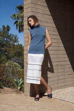 Three Dots Hayden Sleeveless Sweater and Macy Striped Pencil Skirt | Spring 2016 Collection