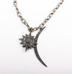 "MGems Gunmetal Sunburst and Moon Long Chain Necklace  Gunmetal 36"""