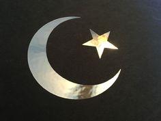 Chrome Star and Crescent Moon ~ Islamic Muslim Symbol Vinyl Decal Sticker Symbols Of Islam, Moon Symbols, Vinyl Decals, Vinyl Art, Cricut Explore Air, New Theme, Gold Stars, Theme Ideas, Art Ideas