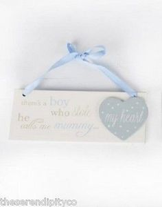 Mummy & Daddy Signs Little Baby Boy Girl~ Wooden Heart Plaques~Mother's Day