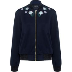 Markus Lupfer - Daisy Embroidered Bomber Jacket (13.850 CZK) ❤ liked on Polyvore featuring outerwear, jackets, flower jacket, bomber style jacket, embroidery jackets, blouson jacket and blue jackets