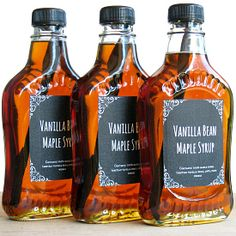 Make your own Vanilla Maple Syrup! You need only 1 minute of your time plus 2 weeks of patience. You can find reasonably priced glass syrup containers at www.specialtybottle.com Makes a great gift!