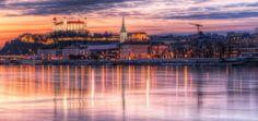 Discover Bratislava, one the best European destinations for a city break. Best hotels in Bratislava, best tours and activities in Bratislava, best things to do in Bratislava. Bratislava Slovakia, Sunset Images, European Destination, City Break, Capital City, Amazing Destinations, Best Hotels, Budapest, Paris Skyline