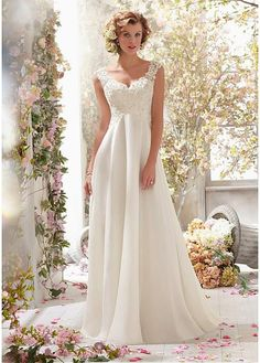 empire elegant chiffon wedding dress beaded cowl open back a line