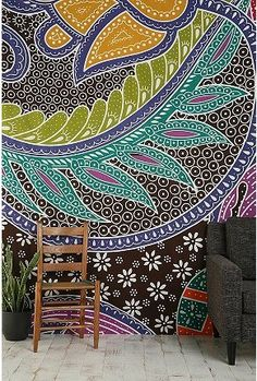 intricate paisley wall