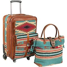 Carry-on Luggage Set AmeriLeather Odyssey 2 Pc. Carry-on Luggage Set - Turquoise - via AmeriLeather Odyssey 2 Pc. Carry-on Luggage Set - Turquoise - via Carry On Luggage, Luggage Sets, My Bags, Purses And Bags, Mode Country, Design Bleu, Ethno Style, Cowgirl Style, Western Style