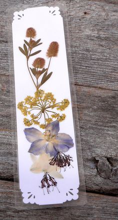 PRESSED FLOWER BOOKMARK Real Delphinium Golden by MyHumbleJumble, $5.00