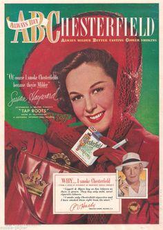 1948 Vintage Chesterfield Cigarette Ad Susan Hayward