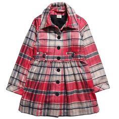 JOTTUM Pink Wool Tartan Coat - Coats & Jackets - Girl | Childrensalon