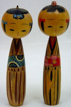 Vintage Kokeshi Pair | Tomegoro Hosaka | 1962