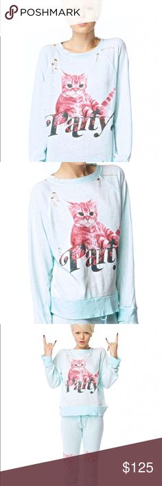 🎉 RARE Wildfox Party Cat Destroyed Sweater This super cute Wildfox Party Cat Destroyed Sweater is BRAND NEW IN THE PACKAGE! Features a distressed graphic and destroyed detailing. Size S, but fits oversized. Wildfox Sweaters Crew & Scoop Necks