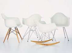 """Charles & Ray Eames, 1950 Plastic Armchairs were first presented as part of a New York Museum of Modern Art competition, """"Low Cost Furniture Design"""". Their organically shaped plastic seat shells were later combined with various different bases and manufactured in their millions. In their latest version made of polypropylene, the armchairs now offer even greater sitting comfort."""