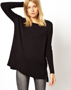 90ee353acd ASOS Oversize Sweater In Fine Knit With Pocket Oversized Jumper